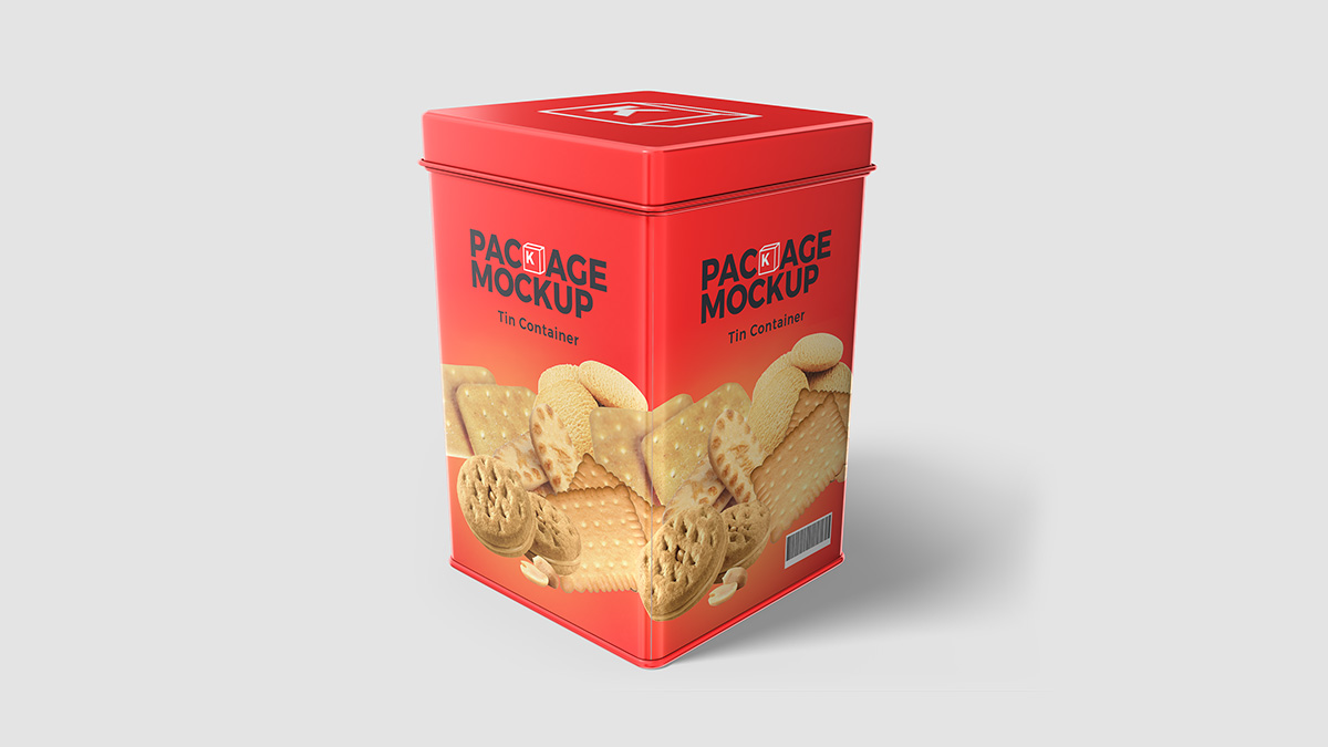Biscuit Tin Container Packaging Psd Mockup Free Package Mockups