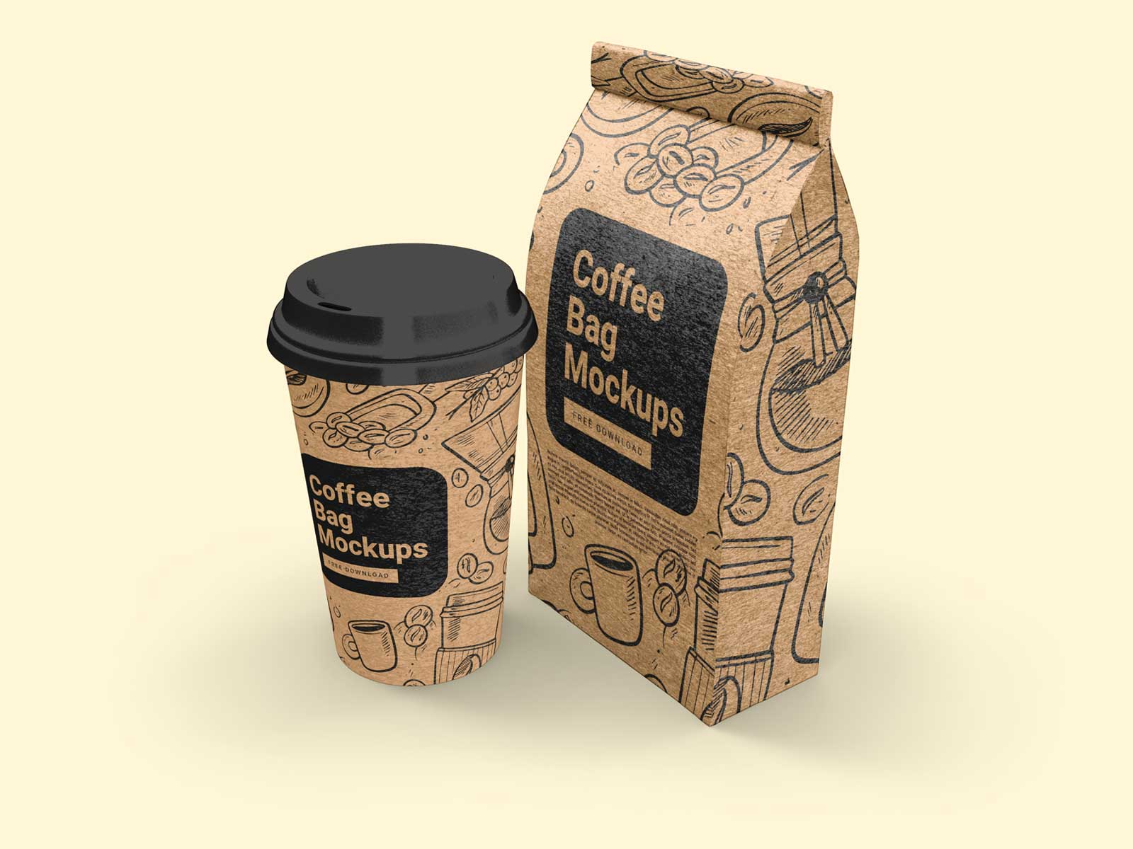 Free Kraft Paper Gusset Bag And Paper Cup Mockup Set Package Mockups