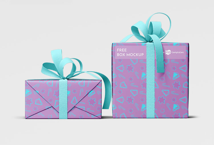 Christmas Gift Boxes Wrapping Paper Mockup Free Package Mockups
